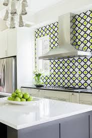 alyssa rosenheck white and gray kitchen with green and black quatrefoil backsplash tiles