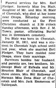 Obituary for Mrs Earl Pledger - Newspapers.com