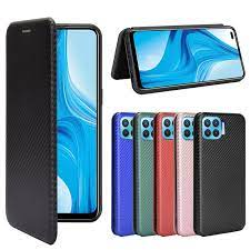 For OPPO A73 A93 F17 Pro Luxury Flip Carbon Fiber Skin Magnetic Adsorption  Case For Oppo Reno 4 Lite A 73 A 93 F 17 Phone Bags Wallet Cases