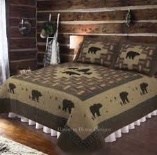 BLACK BEAR MOUNTAIN 3pc ** King ** QUILT SET : LODGE CABIN ... & Image is loading BLACK-BEAR-MOUNTAIN-3pc-King-QUILT-SET-LODGE- Adamdwight.com