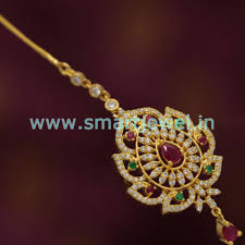 Gold Nethichutti Designs With Price St5712 Cz Ruby Emerald Traditional Forehead Jewellery