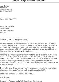 College Professor Cover Letter Sample Sample Cover Letter For