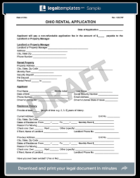 Rent Lease Application Form Ohio Rental Application Form Create A Free Oh Lease