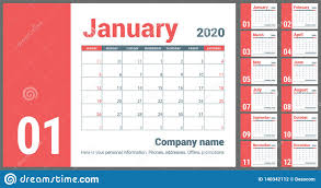 Planner 2020 Template 2020 Calendar English Calender Red Color Vector Template