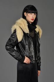 fox fur shoulders leather biker jacket  bustown modern