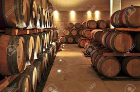 oak wine barrels. Stacked Oak Wine Barrels In Winery Cellar Stock Photo - 4616873