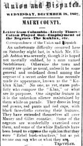 charity by day punishment by night the ku klux klan in fort  during reconstruction the klan targeted dmen and sought to restore by intimidation and violence white supremacy in 1867 the nashville union and