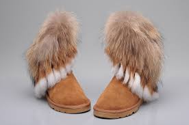 ... UGG 8288 Fox Fur Short Boots For Women in Brown ...