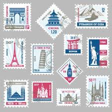 Stamps Template Tower Postage Stamps Template Vector Free Download