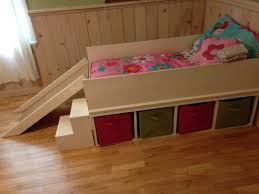 Diy Toddler Loft Bed Diy Toddler Bed With Small Slide And Toy Storage Diy Toddler
