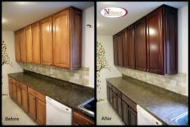 Refinish Wood Cabinets Techniques In Creating Refinished Kitchen Cabinets Before And