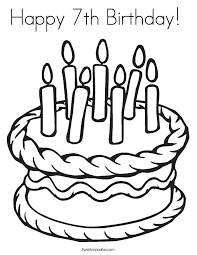 Small Picture Happy 7th Birthday Coloring Page Twisty Noodle