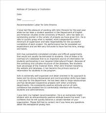 Free Letter Of Recommendation 100 Recommendation Letter Templates Free Sample Format Template 39
