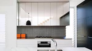 modern kitchen decor with reflection mirrored cabinet