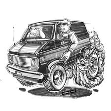 74 Chevy G20 Hotrod Cartoon Sketch Timothy Pronk Carart Cartoon