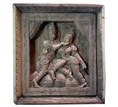 wood carved wall art of radha krishna