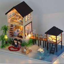 led lighting for house. cuteroom diy handmade maldives wooden doll house led light toy birthday gift led lighting for