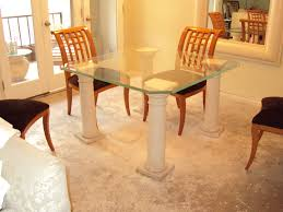 glass dining table with oak legs. marvelous small dining room design and decoration using square clear glass table top only including with oak legs
