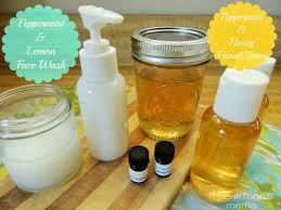 Homemade Peppermint & Lemon Face Wash and Peppermint & Honey Facial Toner
