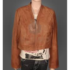 fancy buff colored leather jacket