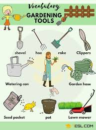 gardening tools voary in english