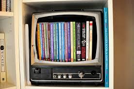 Cool DVD Storage Ideas : Inspiring Old Tv As DVD Storage Box Design