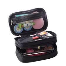 lemoncy travel makeup bag case portable makeup brush bag cosmetic organizer portable 2 layer makeup pouch