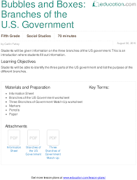 lesson plans for fifth grade social studies com bubbles and boxes branches of the u s government
