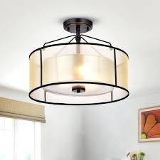 warehouse of 3 light oil rubbed bronze metal glass fabric semi flush mount drum fixture
