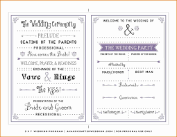 Microsoft Wedding Program Templates Free One Page Wedding Program Templates For Microsoft Word