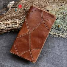 aetoo handmade leather wallet vintage large men retro rub color first layer of leather stitching hand clutch long wallet luxury leather goods las leather