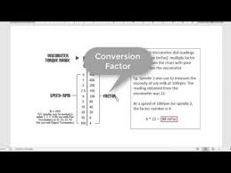 Brookfield Viscometer Spindle Conversion Chart Viscometer Reading Conversion Youtube