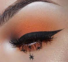spider makeup eyeliner orange eye shadow