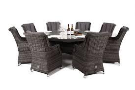 maze rattan victoria 8 seat round dining garden furniture set with round chairs