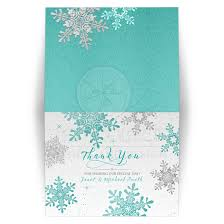 snowflake thank you cards winter wedding thank you card turquoise silver snowflake