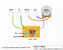 guitar fx layouts split n blend this circuit will not work as a blend for pedals that invert the signal polarity or phase for a few examples of such pedals the likes of dyna