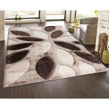 casa regina gy collection 3d design geometric fl brown beige soft 5 ft x 7 ft area rug