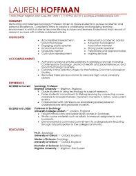 Sample Educational Resume 4 Professor Example