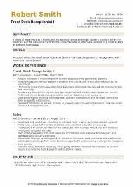 resume for front desk front desk receptionist resume