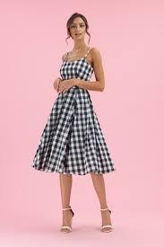 The Pretty Dress Company Priscilla Black & White Gingham Midi Swing Dress