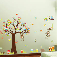 large monkey owl tree wall decal removable sticker kids art nursery decor stickers cartoon room with stencils children rooms transfers baby walls vinyl