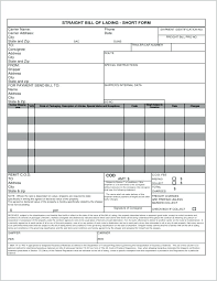 Blank Bill Of Lading Forms Fascinating Shipping Bill Of Lading Trucking Template Freight Form Zeitgeberco