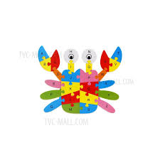 wooden puzzles toys game preschool children letter puzzles educational toys crab 1
