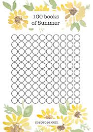 100 Book Challenge Chart 100 Books Of Summer Reading Challenge Printable Zoeprose