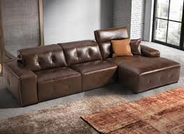 deltasalotti mantegna modern leather sofa with chaise longue