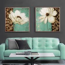 emerald green and white poppy flower painting canvas prints home