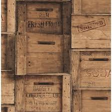 brewster brown wood crates distressed wallpaper