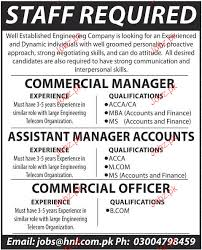 Assistant Manager Accounts, Commercial Manager Wanted 2018 Jobs Pakistan