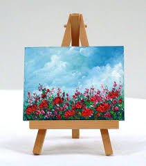 small canvas paintings field of poppies flowers original oil painting sky home design