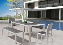 metropolitan outdoor dining set with benches